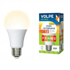 Лампа светодиодная Uniel LED-A60-12W/WW/E27/FR/O с цоколем E27 и мощностью 12 вт. Форма A, матовая колба.Цвет свечения белый.