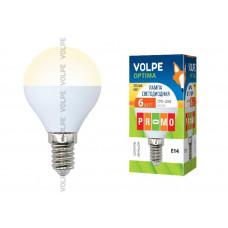 Лампа светодиодная Volpe LED-G45-6W/WW/E14/FR/O Форма шар, матовая колба. Материал корпуса пластик. Цвет свечения теплый белый. Серия Optima